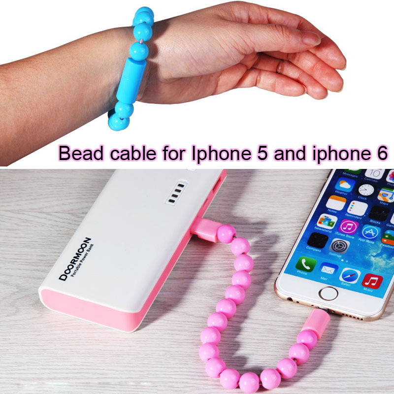 Cool& Fashion &New Smart OTG micro usb cable Bead bracelet Design 26CM Mobile phone Charge Cable For Iphone 5&6(China (Mainland))