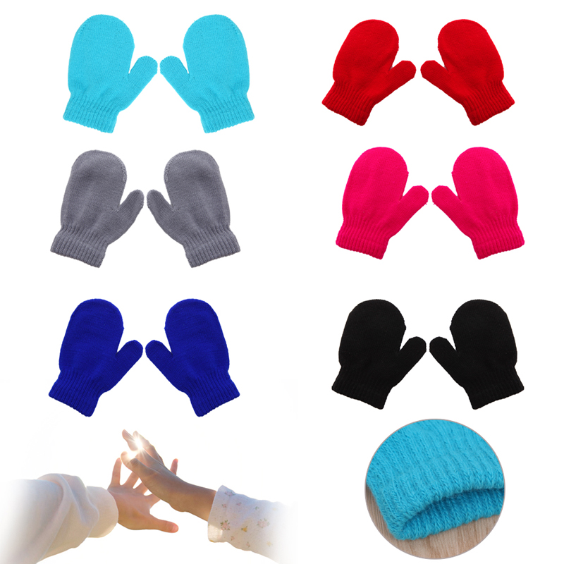Baby Knitting Gloves Winter Warm Soft Kids Boys Girls Candy Colors Mittens