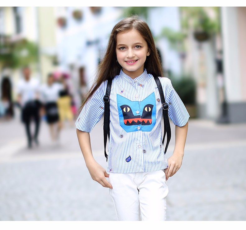 School Blouse for Girls Clothes for Teens Clothing Fashion Kids Cartoon Cat Character Design 5 6 7 8 9 10 11 12 13 14T Years Old