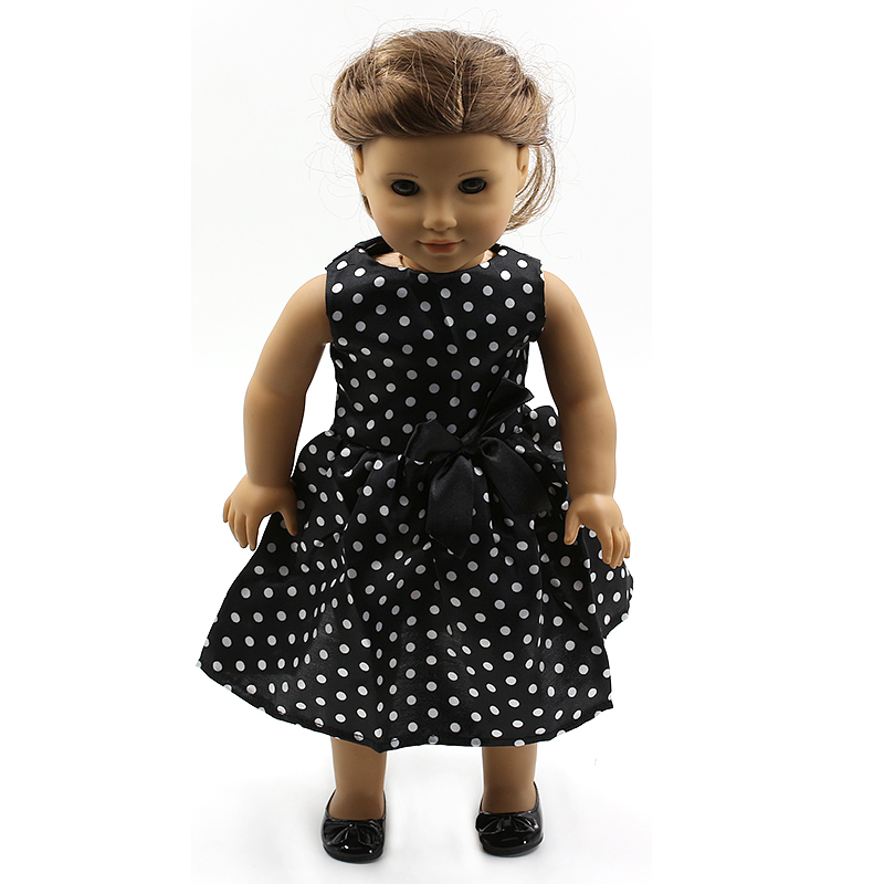 "Wholesales Black Dot Flowers Pattern Doll Clothes For 18"" American Girl Handmade Free shipping MG100(China (Mainland))"