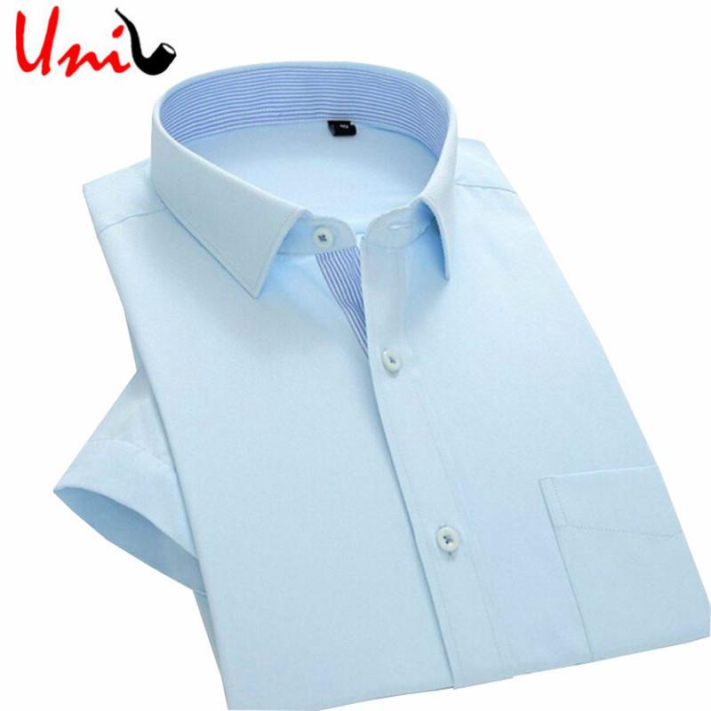 2016 summer men short sleeve shirt slim fit men 39 s dress for Solid color short sleeve dress shirts
