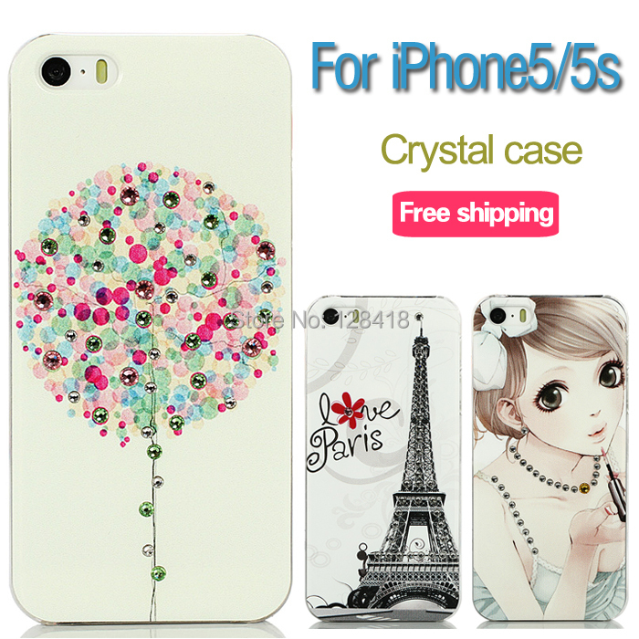 Luxury 2015 rhinestone phone case iphone5s ultra-thin protective iphone5 diamond cartoon back cover crystal clear - Mobile phone's lover store
