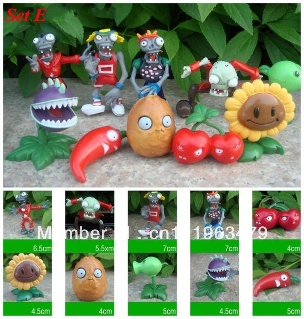 Free shipping New 10pc Plants vs Zombies Figures Boys Girls Toys Game Collections Car Ornaments PVC Figurines Dolls Set E
