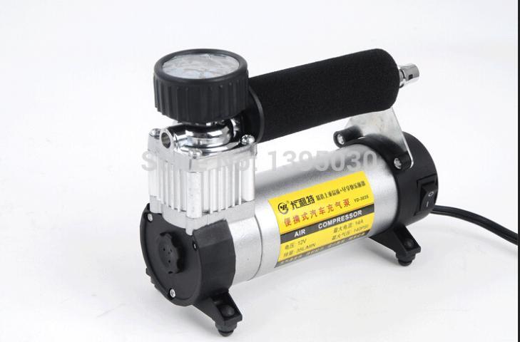 Free Shipping By DHL 12pcs/Lot YD-3035 Portable Super Flow 140PSI Auto Tire Inflator / Car Air Pump Car Air Compressor(China (Mainland))