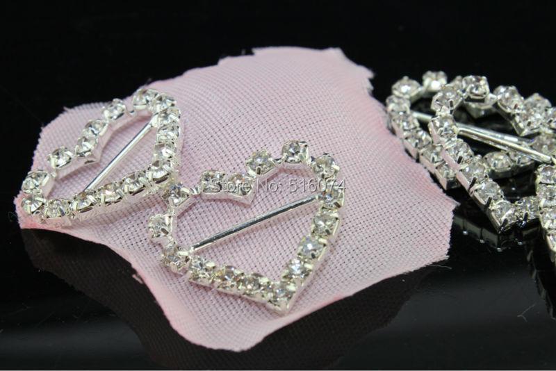 Heart Rhinestone buckle,100pcs/lot, crystal wedding invitations hair accessories,wedding decoration and invitations ,best price(China (Mainland))