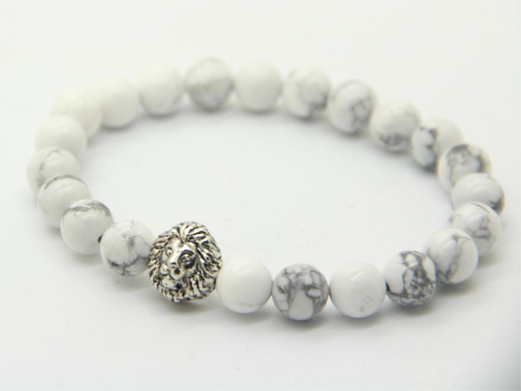 2015 New Design High Grade men's Antique Silver Color Lion Head Bracelets Made by 8mm White Howlite Stone Beads as Party Gift(China (Mainland))