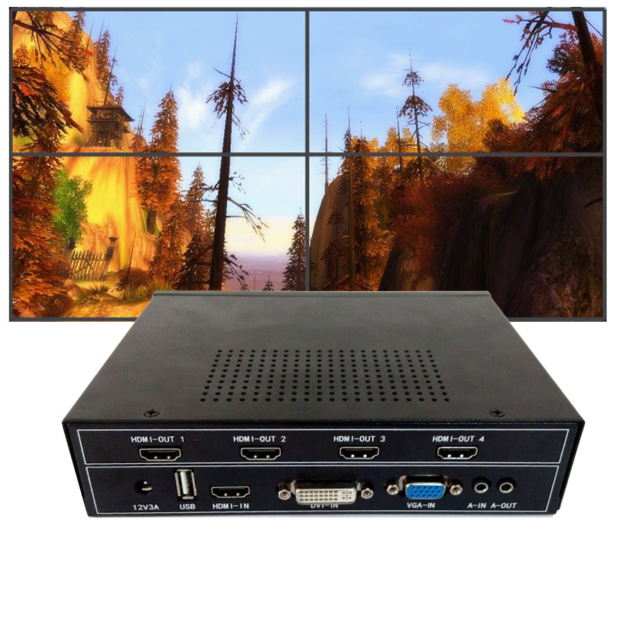 2x2 hd video wall controller for 4 lcd tv video wall