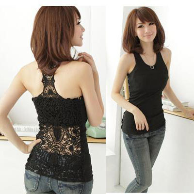 Fashion Womens Clothing Gril Sexy Shirt Tank Tops Hollow-out Clubbing Vest Camisole Pierced Lace Soild Size S 0015(China (Mainland))