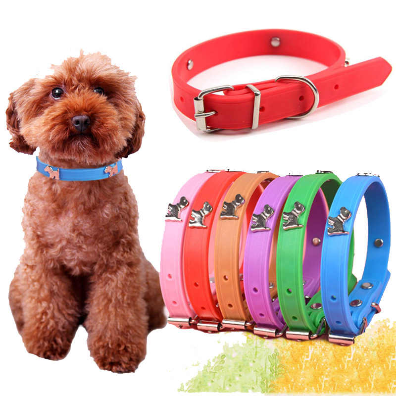 Super Soft Silicone Puppy Dog Collar Cartoon Dog Paw Charms Accessories Studded Collars for Small Dogs Chihuahua Collar(China (Mainland))