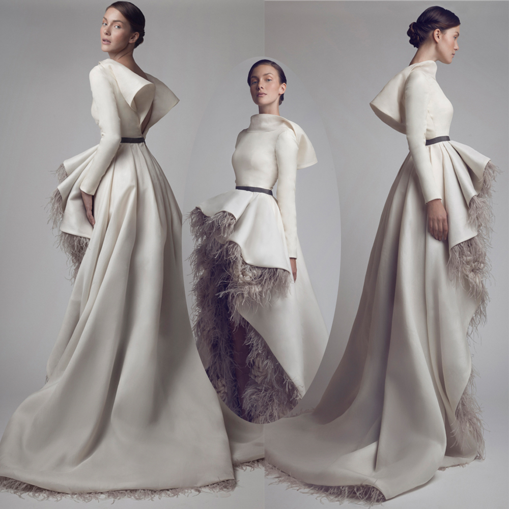 Fashion design asymmetrical high neck feathers flowers for High couture designers