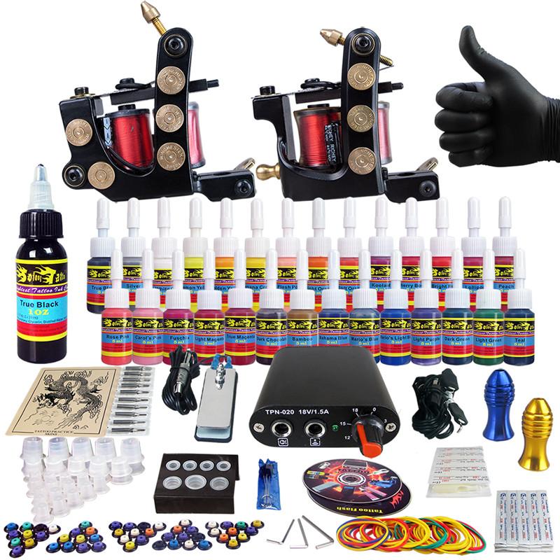 Complete Tattoo Kit for Beginner Starter 2 Pro Machine Guns 28 Inks set Power Supply Foot Pedal  Needle Grips Tips CD TK204-26<br>