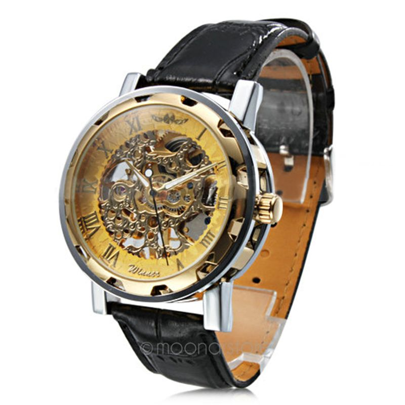 2016 Fashion Retro Vintage Stainless Steel Skeleton Mechanical Watch For Man Gold Mechanical Wrist Watches Clock(China (Mainland))