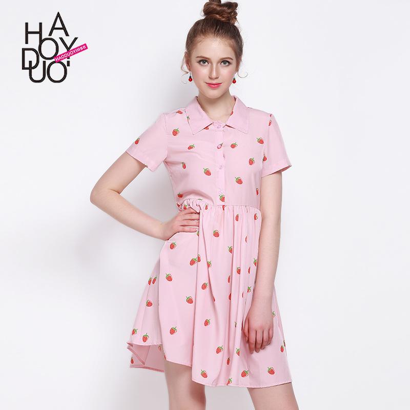2017 Vintage Mini Dress Women Sweet A-Line Strawberry Print Party Dresses Retro Slim Female Dress Vestido Feminino Vestidos Sale(China (Mainland))