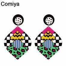 Comiya 2016 punk Fashion big long acrylic leaf charm drop Earrings for women jewelry brincos wholesale summer style earring(China (Mainland))
