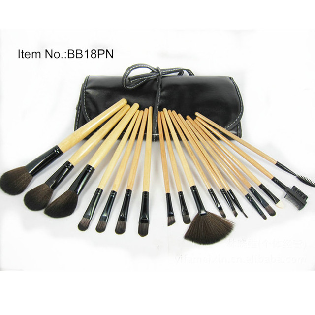 High quality !!18Pcs Professional Cosmetic make up brushes kit set natural hair makeup brush kit with leather Pouch GI5012