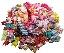 60PC/Lot Handmade Dog Bows Dog Hair Bows Pet Dogs Grooming Accessories Mixed Supplies(China (Mainland))
