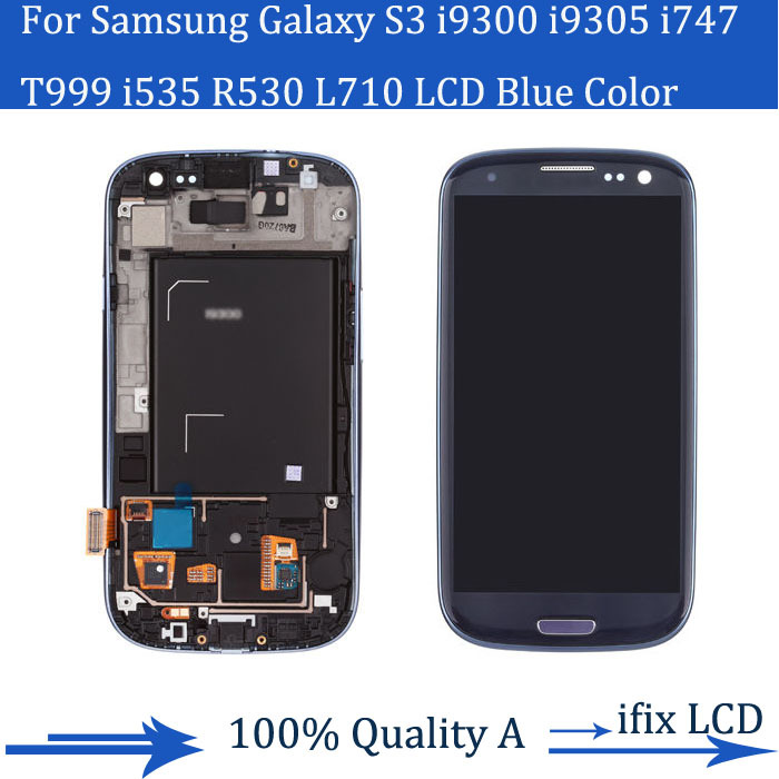 S3 lcd Samsung Galaxy i9300 i9305 i747 T999 i535LCD Touch Screen + Frame Display Assembly Replacement Blue Grey Black - ifix LCD store