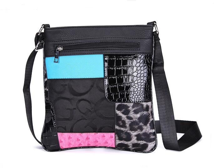 Hot Sale New Ladies Small Black Crossbody Bag Patchwork Flap Bags For Women Floral Print Leopard Bag Femmes Messenger Sacs C060(China (Mainland))
