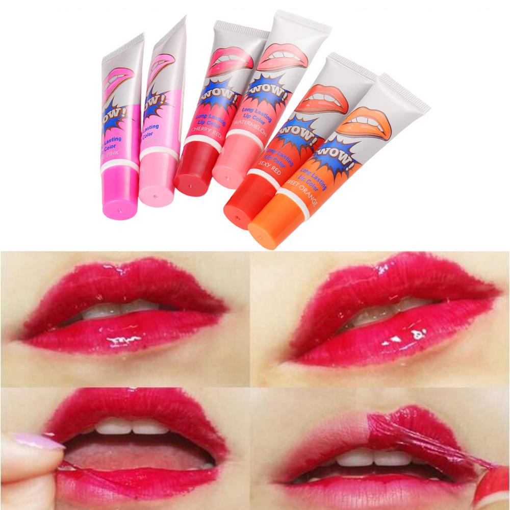 Mujeres girls brillo de labios mate impermeable tatto megic peel-off mask color tinte paquete desgarro lipstick maquillaje de larga duración labios