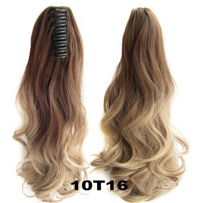 New Drawstring Claw Ombre Pony Tail Hair Extensions Heat Resistant Fiber Hairpieces Wavy Curly Synthetic Hair Ponytails