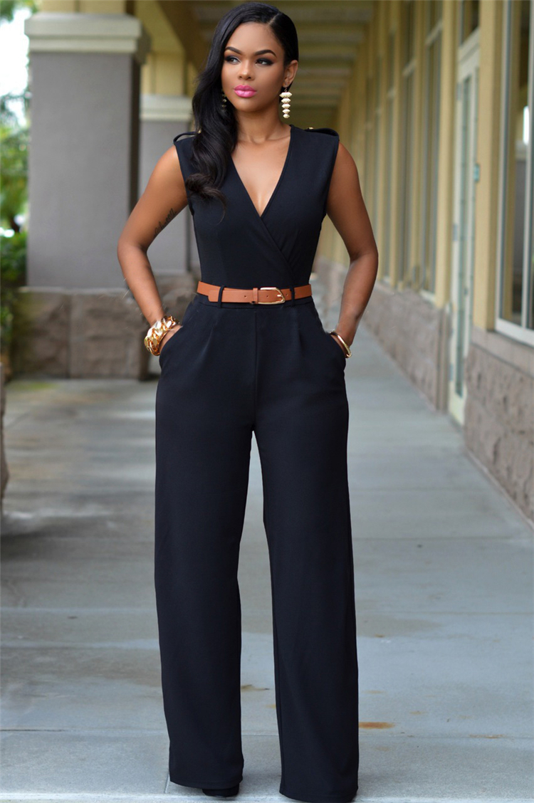 2019 Fashion New Brand Women Jumpsuit Solid Sexy V Neck Jumpsuits