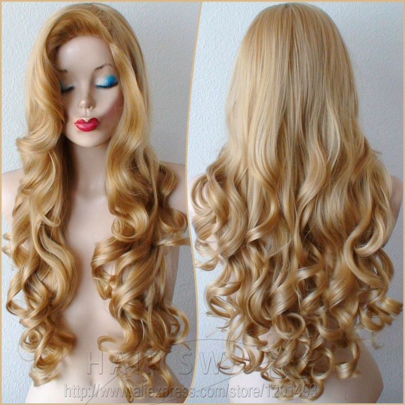 Long Golden Blonde Wig Golden Blonde Long Curly