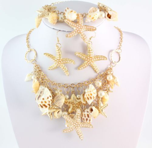 2014 Fashion Starfish Conch Pearl Beads Link Chain Gold Plated Necklace Bracelet Earring Jewelry Set - WWS (Min Order $10 store)