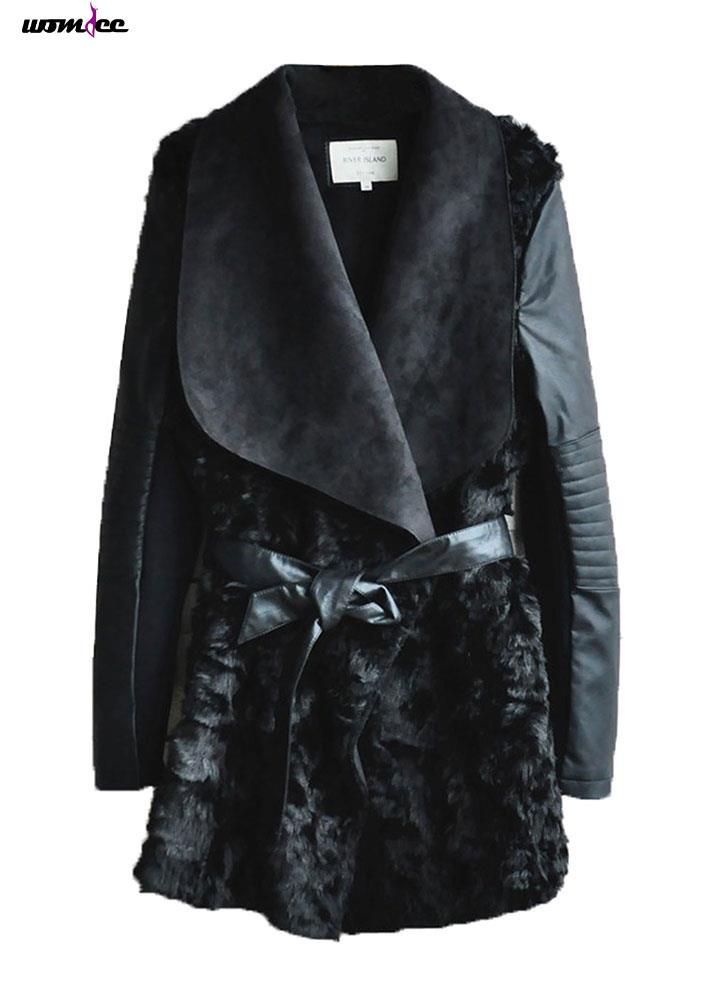 Womdee мода зима искусственный мех PU кожаная куртка пальто ( черный )