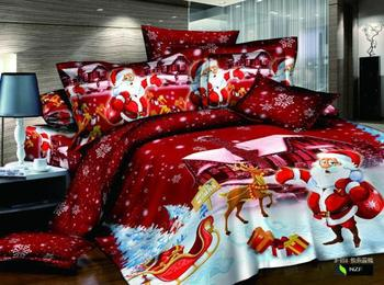 Merry Christmas red comforter cover queen size 4pcs Santa Claus duvet cover bed sheet bedclothes bedding set home textile