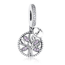 DIY Prata Charme Fit Original Pandora Pulseira Beads 925 Sterling Silver Amor Dangle Charme Coração de Cristal, flor, Torre, Árvore Talão(China)