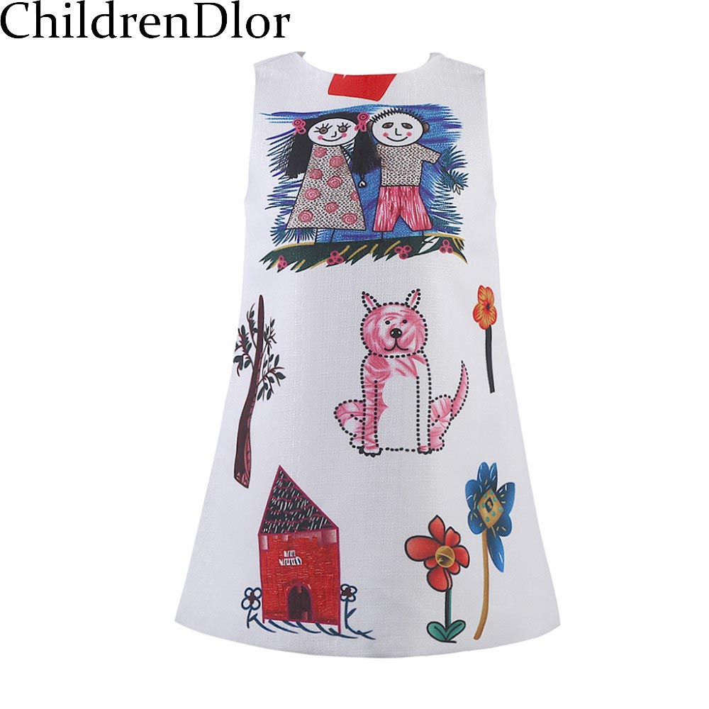 Girls Dresses Summer 2017 Designer A-line Princess Dress Girl Clothes Character Pattern Baby Kids Costume Robe Fille - ChildrenDlor Store store