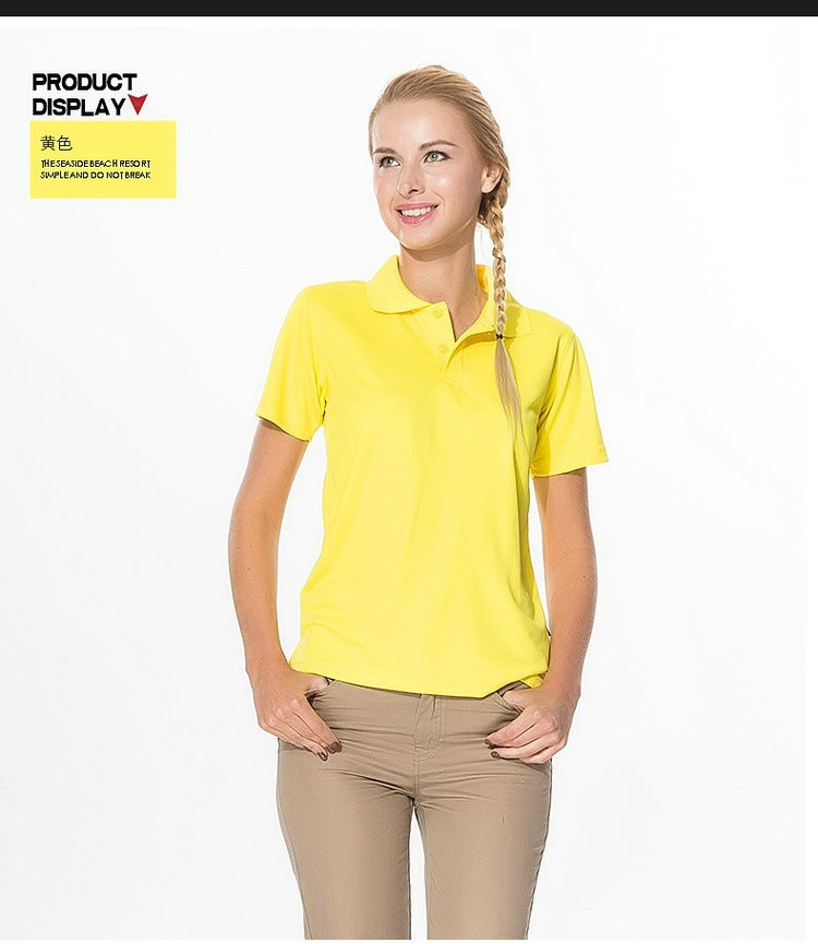 yellow girls short sleeve golf polos for women sports clothing 100% polyester dry fit summer tops women's working clothes female(China (Mainland))