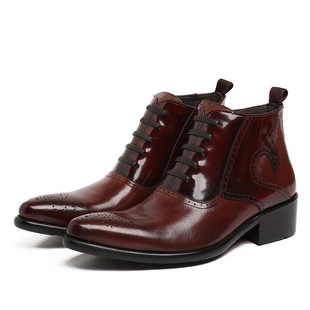 Мода коричневый загар/черный острым носом оксфорды мужские ботинки из натуральной ...