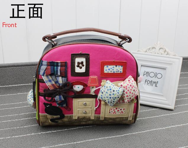 2015 Hot Women Leather Handbags Handicraft Arts Small House Shoulder Bag Floral Braccialini Cute Ladies Round Messenger Bag(China (Mainland))