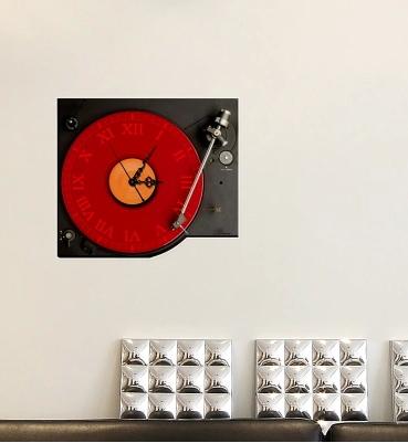 Creative CD player, 3D stickers home decoration Art wall clock living room, KTV bar restaurant TV Wall Stickers Clock(China (Mainland))
