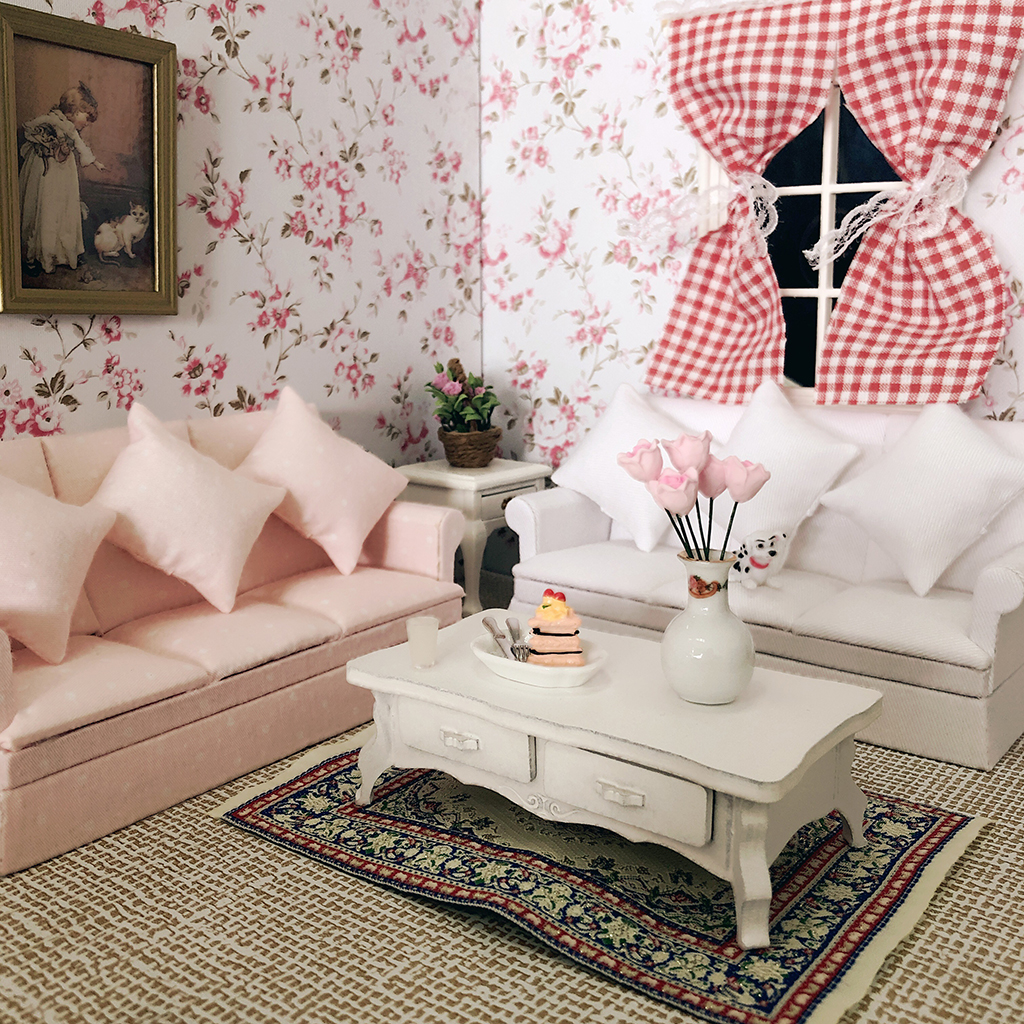 Dolls House Pink Sofa Couch Table Furniture Living Room Decoration 1//12th