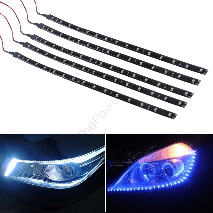 Sale 5 x 15 LED 30cm Car Motor Vehicle Flexible Waterproof Strip Lamp Light Blue/ White 12v 34 - The Power Mall store
