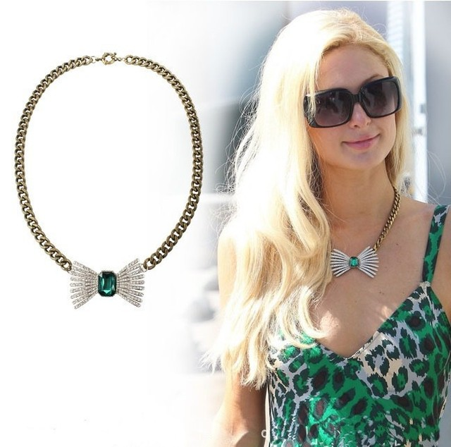 Min Order $10 (can mix)Free Shipping 2013 Fashion Vintage Butterfly Green Rhinestone Short Chain Chokers Collar Necklaces-NA0046
