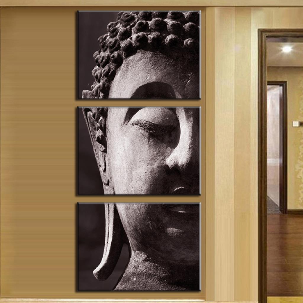 2016 new 3 pcs set still life painting buddha print on for Buddha wall art