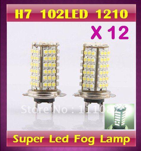 12 X H7 102 led 1210 3528 SMD FOG LAMP 102 led High Beam day Light Car Auto Lamp +Super Bright(China (Mainland))