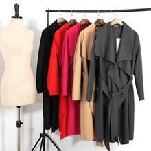 2016 Spring Coat Women Wide Lapel Belt Wool Coat Oversize Women Black Long Trench Coat Casacos Femininos Grey Coat Wool Poncho(China (Mainland))