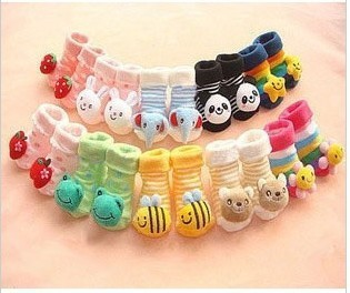 Free shipping! 5pairs hot cotton 0-1 years old baby doll stereoscopic socks non-slip rubber-soled 10 styles to choose from