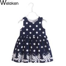 Summer Girl Dress Sleeveless Cotton Polka Dots Bow Print Children Princess Dress Outerwear Robe Fille Casual Girls Dress