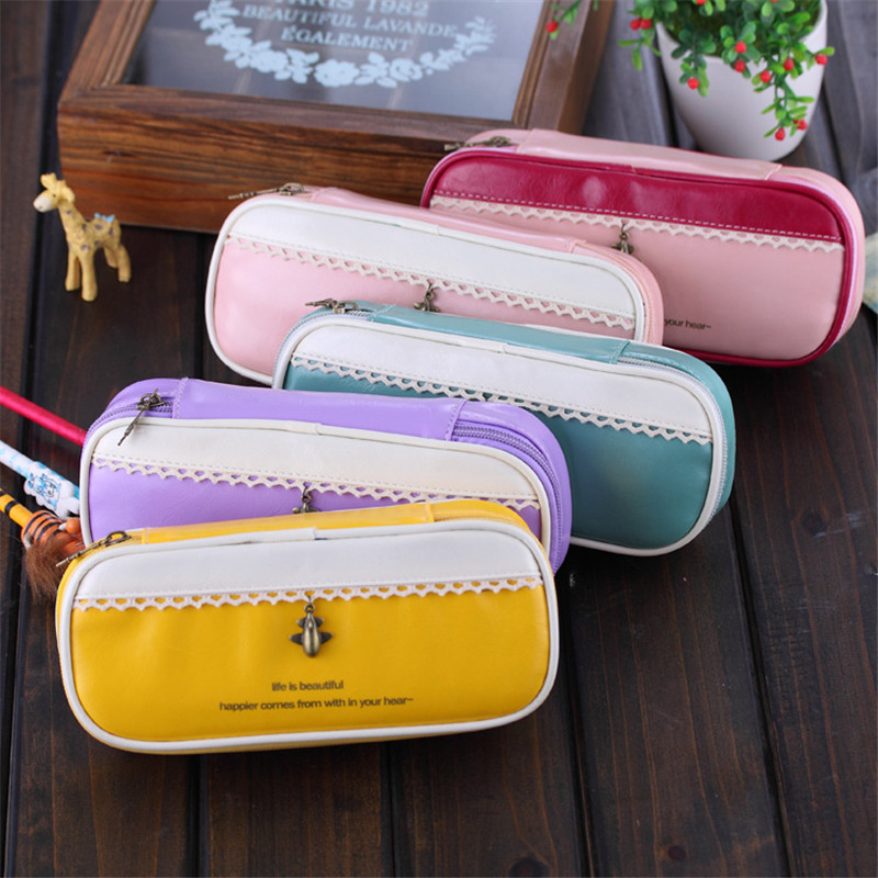 Sweet vintage bright red glaze leather bump large bag Pu stationery versatile pencil case   W2.62<br><br>Aliexpress
