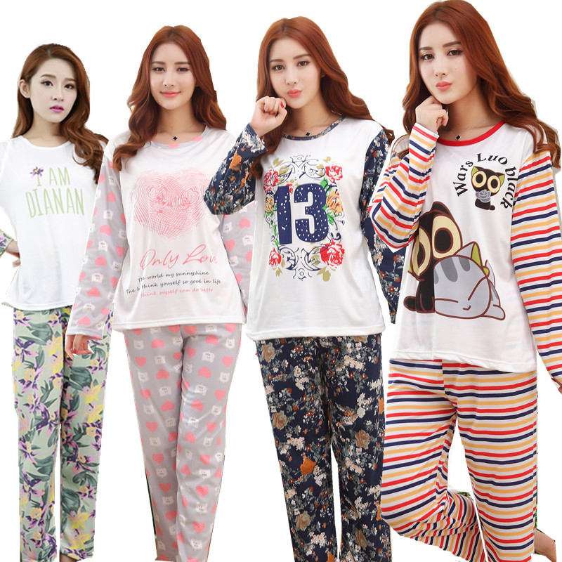 Long sleeve thin cute cartoon Pajamas sets for Women Spring Autumn milk silk girl pajamas modal clothing suit free shippingОдежда и ак�е��уары<br><br><br>Aliexpress