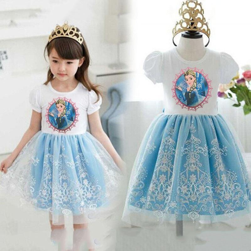 2016 New Styles Princess Dresses Kids Summer Girl Dress Girls 39 Clothing Elsa Cartoon Dress Elsa