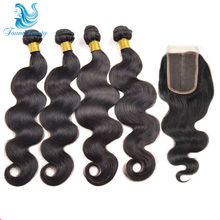 Peruvian Virgin Hair Body Wave With Closure Hair Bundles With Lace Closures 4pcs/lot Peerless Peruvian Body Wave  Natural Black