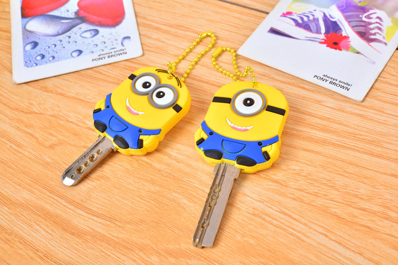 Despicable me 3 minions Key cover, novelty items cute silicone key cover, Key Caps Keys Keychain 2pcs/lot free shipping(China (Mainland))