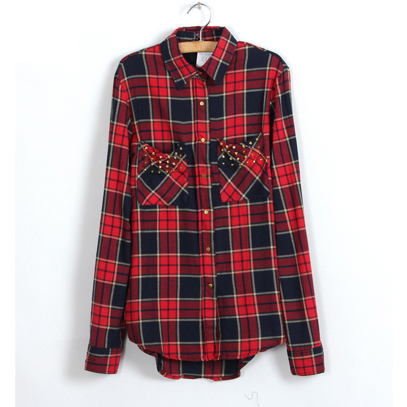 Womens red tartan plaid cottton shirt 2016 spring collar Womens red plaid shirts blouses