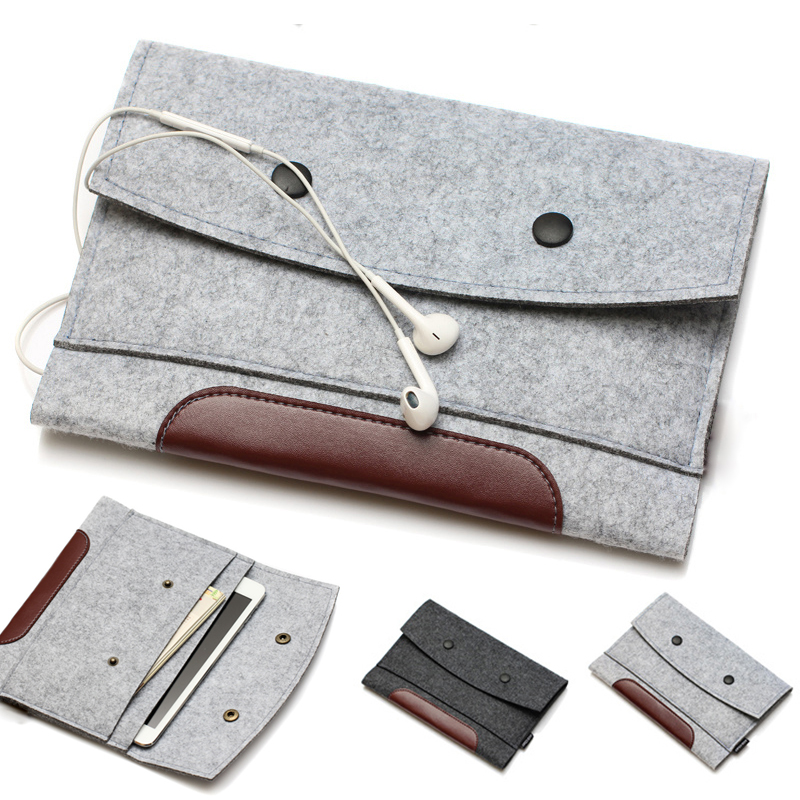 high quality Wool Felt bags for iPad mini 2/3& for ipad 2/3/4 leather&woolfelt sleeve for iPad air 2 tablet Handcraft color gray(China (Mainland))